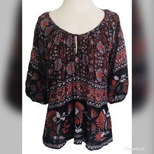 Joie Nancy M voile floral peasant boho blouse